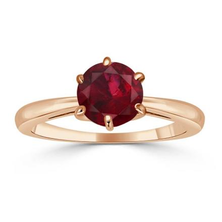 Certified 14k Rose Gold 6-Prong Round Ruby Gemstone Ring 0.75 ct. tw. (AAA)