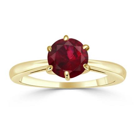 Certified 18k Yellow Gold 6-Prong Round Ruby Gemstone Ring 0.50 ct. tw. (AAA)