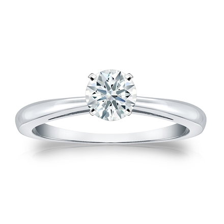 Certified 18k White Gold 4-Prong Hearts & Arrows Diamond Solitaire Ring 0.50 ct. tw. (H-I, I1-I2)