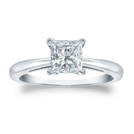 Certified 18k White Gold 4-Prong Princess Diamond Solitaire Ring 1.00 ct. tw. (I-J, I1-I2)