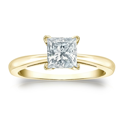 Certified 14k Yellow Gold 4-Prong Princess Diamond Solitaire Ring 1.00 ct. tw. (I-J, I1-I2)