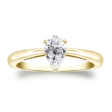 Lab Grown Diamond Solitaire Ring Pear 0.50 ct. tw. (G-H, VS1-VS2) in 14K Yellow Gold 4-Prong