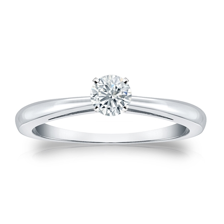 Certified 14k White Gold 4-Prong Round Diamond Solitaire Ring 0.25 ct. tw. (I-J, I1-I2)