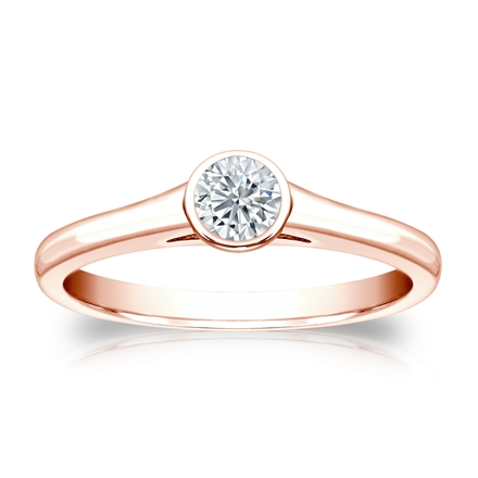 Certified 14k Rose Gold Bezel Round Diamond Solitaire Ring 0.25 ct. tw. (G-H, SI1)