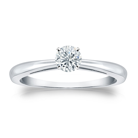 Certified 14k White Gold 4-Prong Round Diamond Solitaire Ring 0.33 ct. tw. (G-H, SI1)