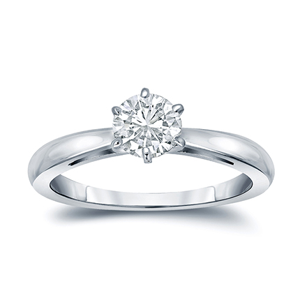 Certified 14k White Gold 6-Prong Round Diamond Solitaire Ring 0.33 ct. tw. (G-H, VS2)