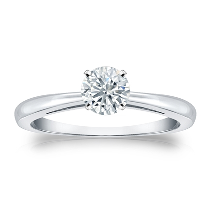 Certified 14k White Gold 4-Prong Round Diamond Solitaire Ring 0.50 ct. tw. (I-J, I1-I2)