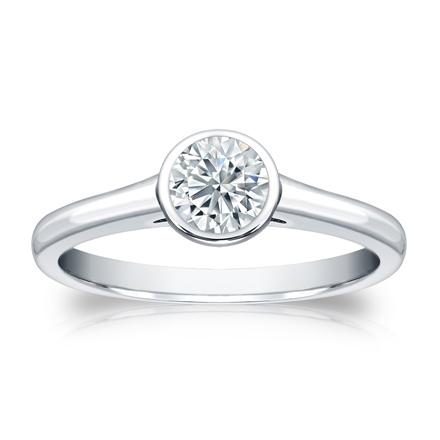 Certified Platinum Bezel Round Diamond Solitaire Ring 0.50 ct. tw. (H-I, SI1-SI2)
