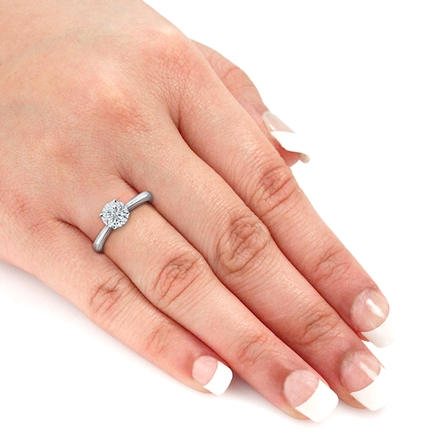 Lab Grown Diamond Solitaire Ring Round 1.00 ct. tw. (I-J, SI1-SI2) in 14k White Gold 4-Prong