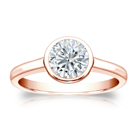Certified 14k Rose Gold Bezel Round Diamond Solitaire Ring 1.00 ct. tw. (I-J, I1-I2)