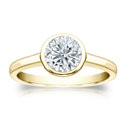 Certified 18k Yellow Gold Bezel Round Diamond Solitaire Ring 1.00 ct. tw. (I-J, I1-I2)