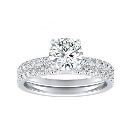 Lab Grown Diamond Wedding Ring Set Round IGI Certified 1.50 ct. tw. (H-I, SI1-SI2) in 14k White Gold 4-Prong