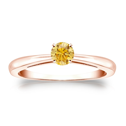 Certified 14k Rose Gold 4-Prong Yellow Diamond Solitaire Ring 0.25 ct. tw. (Yellow, SI1-SI2)