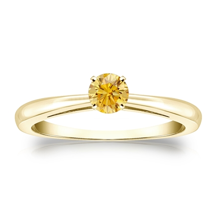 Certified 14k Yellow Gold 4-Prong Yellow Diamond Solitaire Ring 0.25 ct. tw. (Yellow, SI1-SI2)