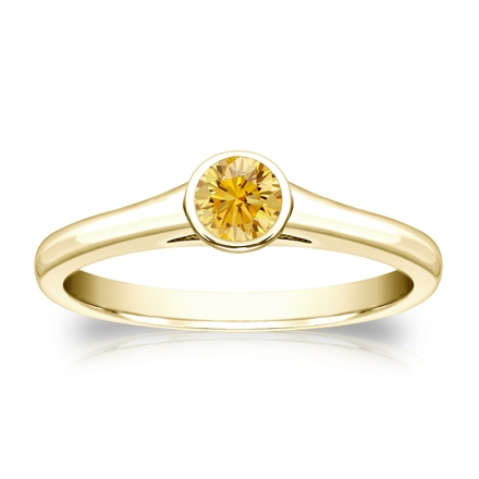 Certified 18k Yellow Gold Bezel Round Yellow Diamond Ring 0.25 ct. tw. (Yellow, SI1-SI2)