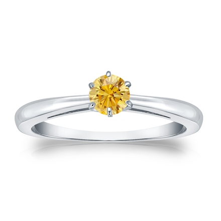 Certified Platinum 6-Prong Yellow Diamond Solitaire Ring 0.25 ct. tw. (Yellow, SI1-SI2)