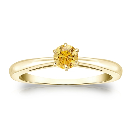 Certified 14k Yellow Gold 6-Prong Yellow Diamond Solitaire Ring 0.25 ct. tw. (Yellow, SI1-SI2)