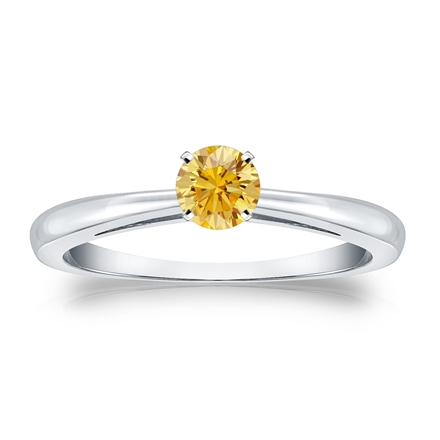 Certified Platinum 4-Prong Yellow Diamond Solitaire Ring 0.33 ct. tw. (Yellow, SI1-SI2)