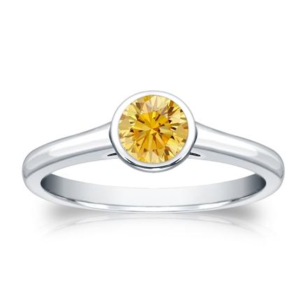 Certified Platinum Bezel Round Yellow Diamond Ring 0.50 ct. tw. (Yellow, SI1-SI2)