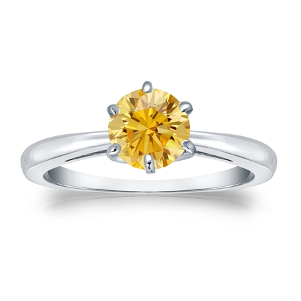 Certified Platinum 6-Prong Yellow Diamond Solitaire Ring 0.75 ct. tw. (Yellow, SI1-SI2)