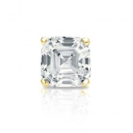 Certified 14k Yellow Gold 4-Prong Basket Asscher Cut Diamond Single Stud Earring 1.00 ct. tw. (I-J, I1-I2)