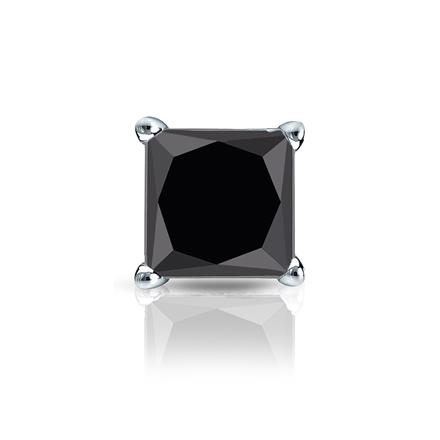 Certified 14k White Gold 4-Prong Basket Princess Black Diamond Single Stud Earring1.50 ct. tw.