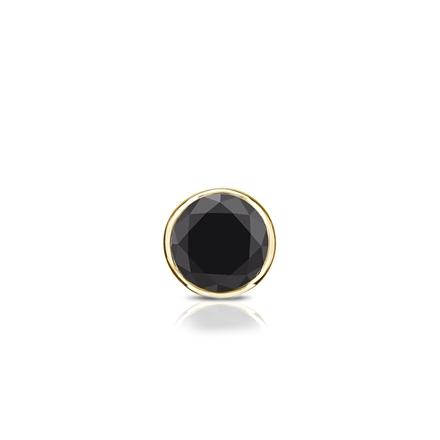 Certified 14k Yellow Gold Bezel Round Black Diamond Single Stud Earring 0.13 ct. tw.