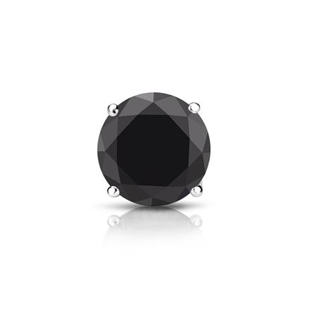 Certified Platinum 4-Prong Basket Round Black Diamond Single Stud Earring1.00 ct. tw.