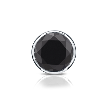 Certified 14k White Gold Bezel Round Black Diamond Single Stud Earring1.00 ct. tw.