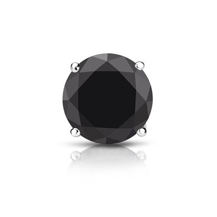 Certified Platinum 4-Prong Basket Round Black Diamond Single Stud Earring1.50 ct. tw.