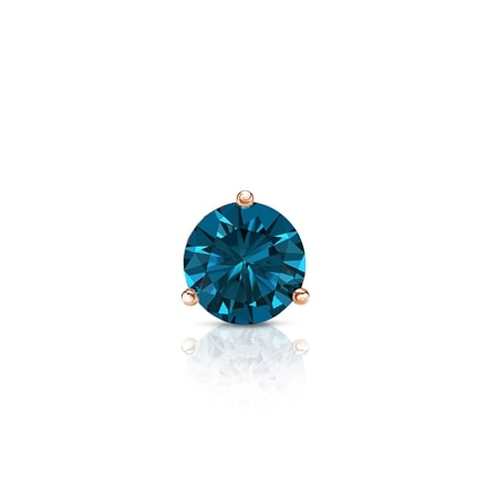 Certified 14k Rose Gold 3-Prong Martini Round Blue Diamond Single Stud Earring 0.25 ct. tw. (Blue, SI1-SI2)