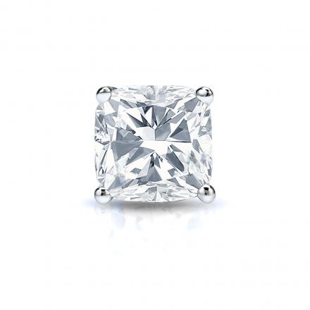 Certified 14k White Gold 4-Prong Basket Single Cushion Cut Diamond Stud Earrings 1.00 ct. tw. (H-I, I1-I2)
