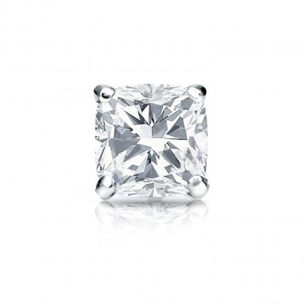 Certified 18k White Gold 4-Prong Martini Cushion Cut Diamond Single Stud Earring 1.00 ct. tw. (G-H, VS1-VS2)