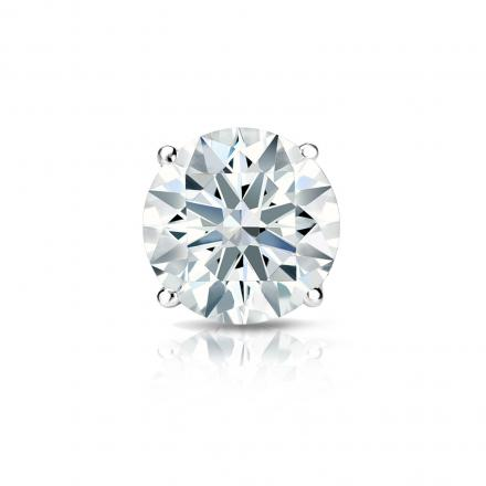 Certified 14k White Gold 4-Prong Basket Hearts & Arrows Diamond Single Stud Earring 1.00 ct. tw. (G-H, SI1-SI2)