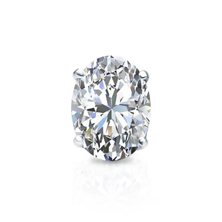 Certified 18k White Gold 4-Prong Basket Oval Diamond Single Stud Earring 1.00 ct. tw. (I-J, I1-I2)