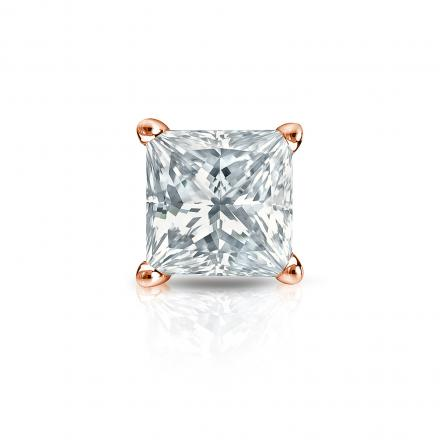 Certified 14k Rose Gold 4-Prong Basket Princess-Cut Diamond Single Stud Earring 1.50 ct. tw. (G-H, VS2)