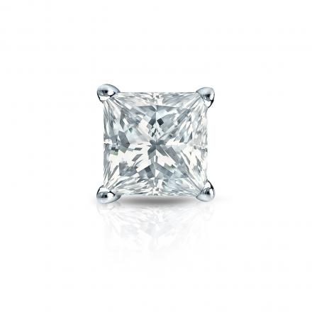 Certified 14k White Gold 4-Prong Basket Single Princess Cut Diamond Stud Earrings 1.00 ct. tw. (H-I, I1-I2)