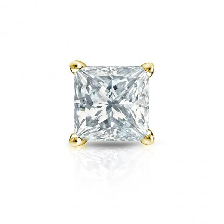 Certified 14k Yellow Gold 4-Prong Basket Single Princess Cut Diamond Stud Earrings 1.00 ct. tw. (I-J, VS1-VS2)