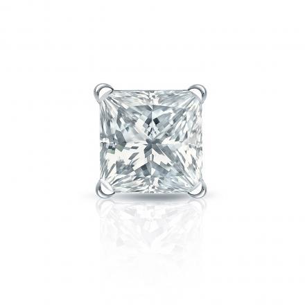 Certified 14k White Gold 4-Prong Martini Princess-Cut Diamond Single Stud Earring 1.50 ct. tw. (I-J, I1)