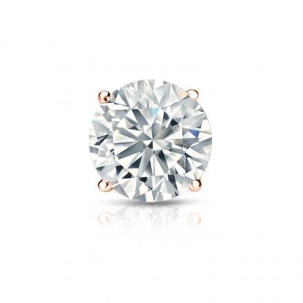 Certified 14k Rose Gold 4-Prong Basket Round Diamond Single Stud Earring 1.00 ct. tw. (H-I, SI1-SI2)
