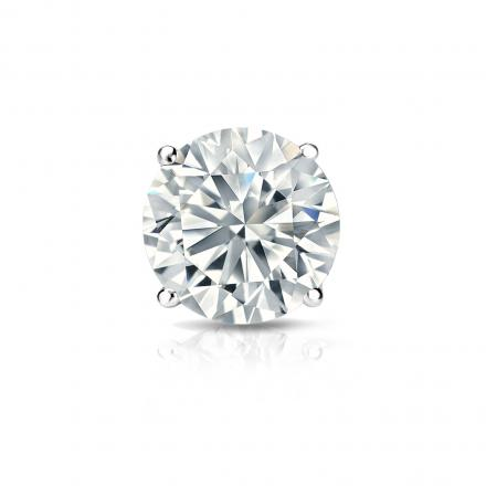 Certified 18k White Gold 4-Prong Basket Round Diamond Single Stud Earring 1.00 ct. tw. (H-I, SI1-SI2)