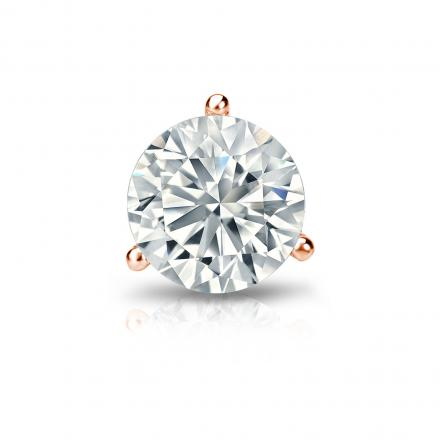 Certified 14k Rose Gold 3-Prong Martini Round Diamond Single Stud Earring 1.00 ct. tw. (H-I, SI1-SI2)