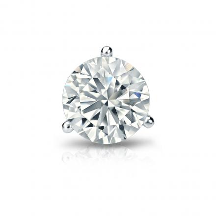 Certified 14k White Gold 3-Prong Martini Round Diamond Single Stud Earring 1.00 ct. tw. (H-I, SI1-SI2)