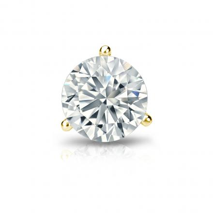 Certified 18k Yellow Gold 3-Prong Martini Round Diamond Single Stud Earring 1.00 ct. tw. (H-I, SI1-SI2)