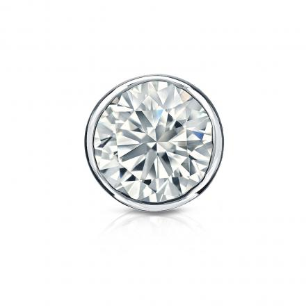 Certified 14k White Gold Bezel Round Diamond Single Stud Earring 1.00 ct. tw. (H-I, SI1-SI2)