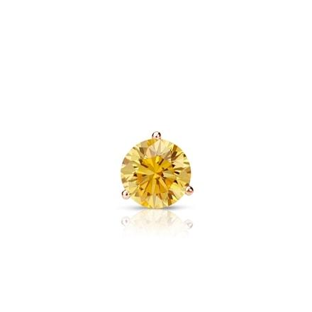 Certified 14k Rose Gold 3-Prong Martini Round Yellow Diamond Single Stud Earring 0.17 ct. tw. (Yellow, SI1-SI2)