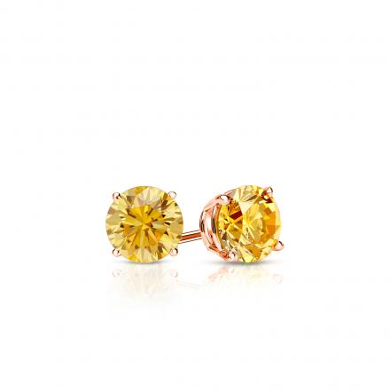 Certified 14k Rose  Gold 4-Prong Basket Round Yellow Diamond Stud Earrings 0.25 ct. tw. (Yellow, SI1-SI2)