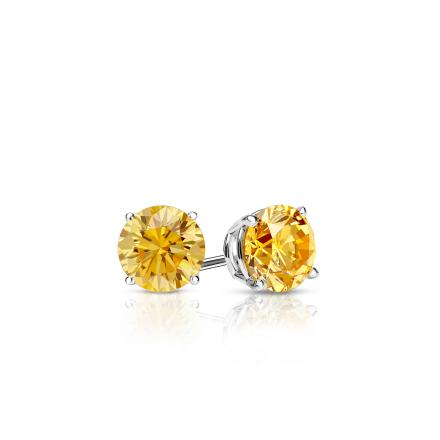 Certified 14k White Gold 4-Prong Basket Round Yellow Diamond Stud Earrings 0.25 ct. tw. (Yellow, SI1-SI2)