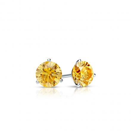 Certified 14k White Gold 3-Prong Martini Round Yellow Diamond Stud Earrings 0.25 ct. tw. (Yellow, SI1-SI2)
