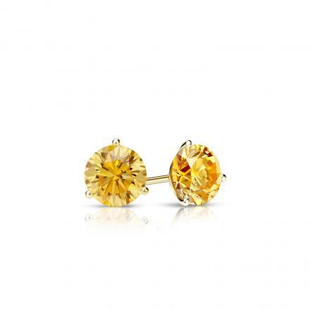 Certified 14k Yellow Gold 3-Prong Martini Round Yellow Diamond Stud Earrings 0.25 ct. tw. (Yellow, SI1-SI2)